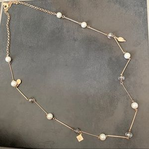 Charming Charlie gold long necklace with pearls